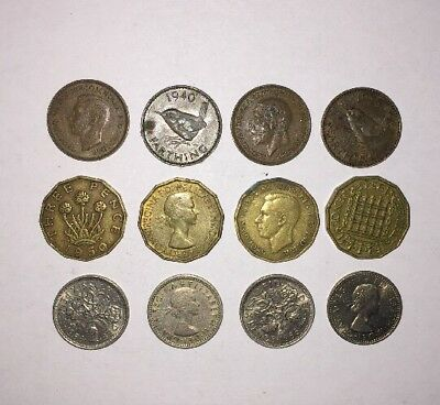 12 UK 3 Three 6 Six Pence Farthing Coins British English Pre Decimal Coin