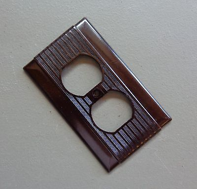 Vtg NOS Hubbell Outlet Switch Cover Plate Dark Brown Bakelite Deco Ribbed Design