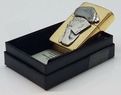 24ct GOLD PLATED GENUINE ZIPPO 'FULL HOUSE' PETROL LIGHTER 24K SURPRISE TRICK