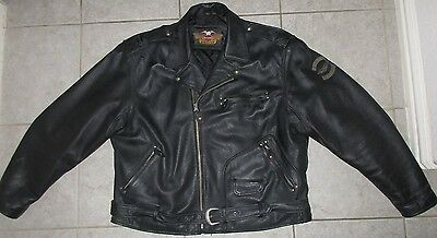 Harley Davidson Mens Leater Vintage Embossed Eagle Metal Badge Jacket 3XL