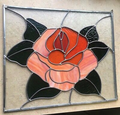 Stained Glass Leaded Window Panel- Textured and patterned Rose Blossom !!!