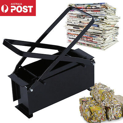 Recycle Newspaper Briquette Maker Paper Log Brick fr Heating Fire Stove Home AU