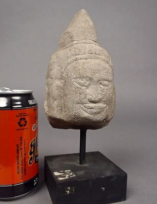 Beautiful Old 12-13thC Fine KHMER STONE BUDDHA HEAD Cambodia Sculpture