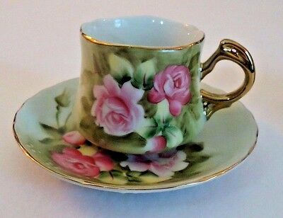 Two Vintage Lefton Pink Rose Demitasse Scalloped Edge Gold Trim Cup and Saucer