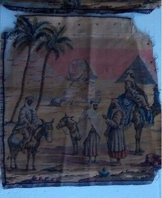 4 Antique Seat Covers Needlepoint Tapestry Egyptian Pyramids Nineteenth Century