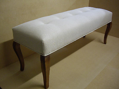 Buttoned Foot Stool, Bed End Ottoman, Bedroom Stool, Bench Seat, Furniture