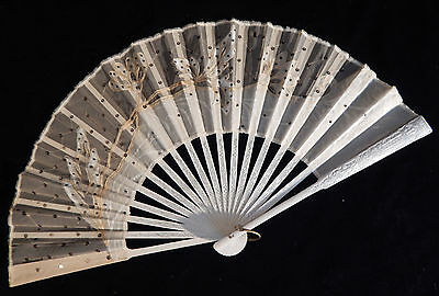 Antique Hand Painted Appliqued Ladies Hand Fan With Sequins Vintage