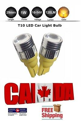 2x T10 194 168 Amber Yellow W5W 5630 LED 6SMD Car Light Bulb Projector Lens