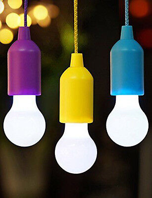 Colorful LED Pull Cord light Bulb Outdoor Garden Camping Hanging Lamp Rope Cool