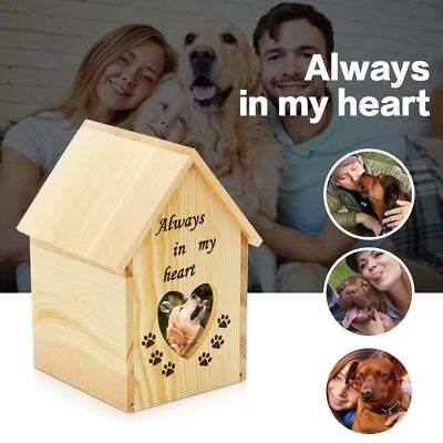 Pet Cat Dog House Shape Cremation Urn Peaceful Pet Memorial Keepsake Photo Box