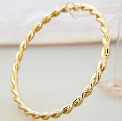 """Gold Small Child's Bangle Double Twist Solid Creola Bangle 51mm - 2"""" Gold Plate"""