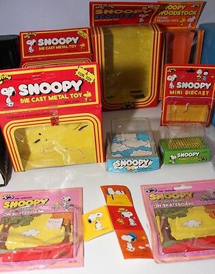 9 Vintage Peanuts Snoopy Toy Boxes Aviva Die Cast + Motorized + Push Button