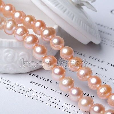 Natural Pink 7-8mm freshwater pearl beads Factory direct wholesale 14.5inches