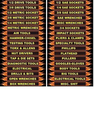 336- Mechanics Magnetic Tool Box  Labels. Best Deal! Top Quality! EASY TO READ!
