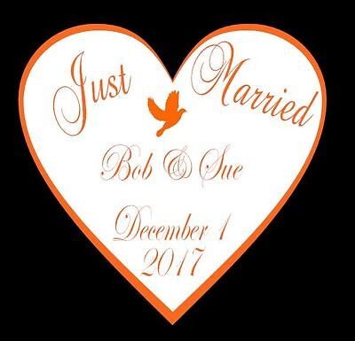 Just Married Heart Design with Dove Wall Art and large white Heart