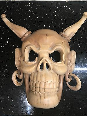 Japanese Skull Mask Bali Style / Asian hand made hand carved Large antique