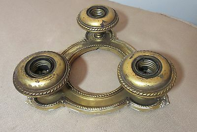 antique ornate thick gilded brass electric 3 light ceiling fixture chandelier