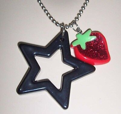 LARGE Black STAR + Red Glitter STRAWBERRY PENDANT NECKLACE Pinup/Rockabilly