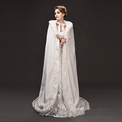 New Bridal Winter Warm Long Wedding Cloak Hooded White Faux Fur Cape 150 cm