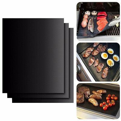 1-3pcs BBQ Grill Mat Reusable Resistant Non-Stick Barbecue Baking Sheet Cooking