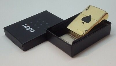 24ct GOLD PLATED GENUINE ZIPPO PETROL LIGHTER LUCKY ACE GIFT BOXED 24k 24011