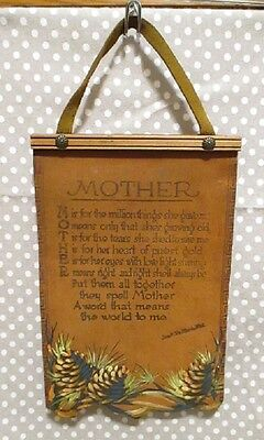 Vintage Leather Wall Hanging Sign Rustic Handpainted Brown Mother Verse Mom Poem