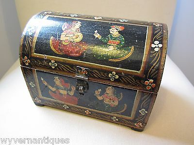 Antique Black Lacquer Jewel Trinket Box Chest Hand Painted Persian Design
