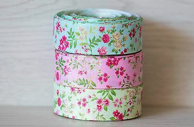 1M X 25mm Grosgrain Ribbon Craft DIY Decorations Hair Bows - vintage flowers