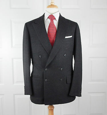 Vintage DUNHILL Bespoke Double Breasted Gray Suit 40L 17096
