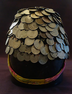Vintage Central Asian Wedding Bridal Coin Money Hat Headdress