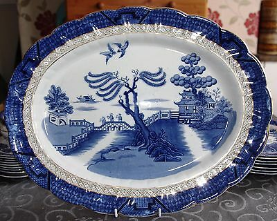 BOOTHS REAL OLD WILLOW PATTERN No 9072 EXTRA LARGE MEAT PLATTER c.1921