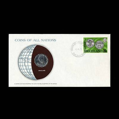Swaziland 20 Cents 1975 Fdc Unc ─ Coins Of All Nations Uncirculated Stamp Cover