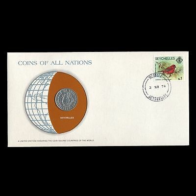 Seychelles 50 Cents 1977 Fdc Coins Of All Nations Uncirculated Pnc Stamp Cover
