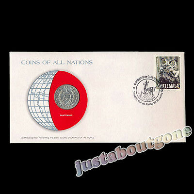 Guatemala 25 Centavos 1979 Fdc Coins Of All Nations Uncirculated Stamp Cover Unc
