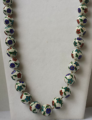 Vintage Cloisonné Beaded Necklace with Hand Knotted, Hand Painted Ceramic Beads