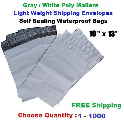 """10""""x 13"""" Poly Mailers Shipping Envelopes Self Sealing Plastic Mailing Bags White"""