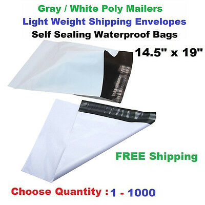 """14.5x19"""" Poly Mailers Shipping Envelopes Self Sealing Plastic Mailing Bags White"""