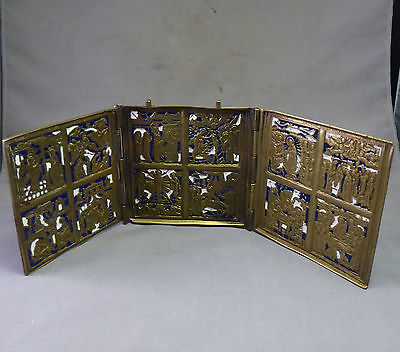 Antique Russian Bronze Triptych Icon with Two colour Enamel - 19th century