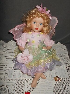 """Unknown Fairy doll, Porcelain & Cloth, Appx 13"""" tall, Very Nice Condition"""