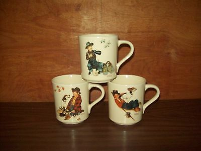 3 Vintage 1984 A Boy & His Dog Norman Rockwell Four Seasons Mug Collection Cups