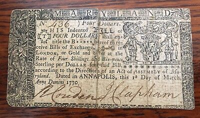 Colonial Currency 1770 Annapolis, Maryland Four Dollars, Extra Fine Condition