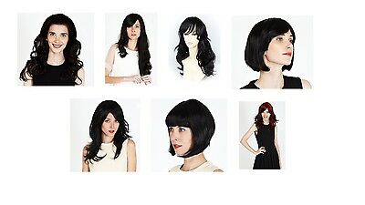 Job lot of 7 quality double volume black wigs and half wigs RRP £175