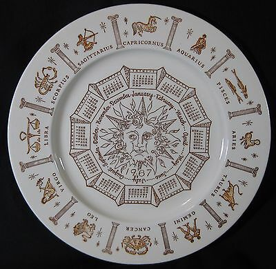 1967 Astrological Plate 10 1/2 inches Astrology Symbols Signs