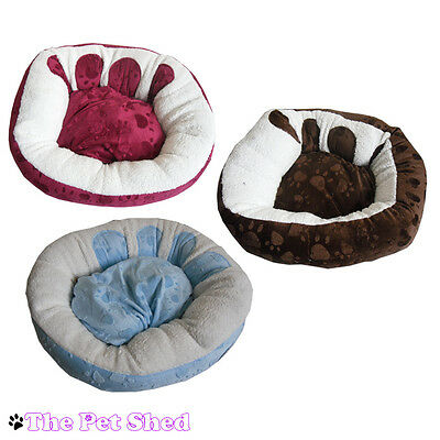 Dog Puppy Cat Kitten Soft Fluffy Fleece Comfy Cushion Round Paw Print Pet Bed