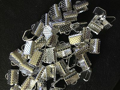 50 Bulk Cord Ribbon Crimp End Necklace Clamps Shiny Silver 8 mm DIY jewellery