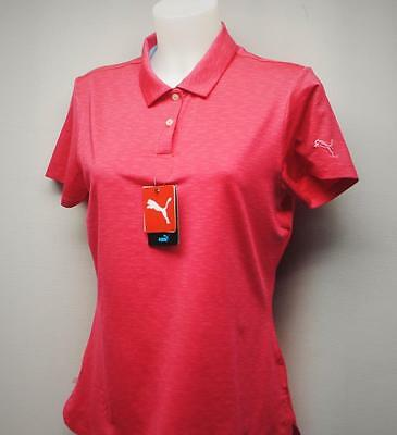 New Womens PUMA Space Dye short sleeve polyester golf polo shirt Small Rose red