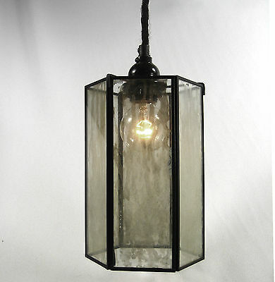 Glass Pendant Grey Tinted Hanging Fixture Lamp Light Hexagon Industrial Vintage