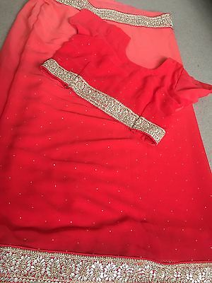 Brand New Womens Asian/Indian Sari Red-Coral Two Tone With Border