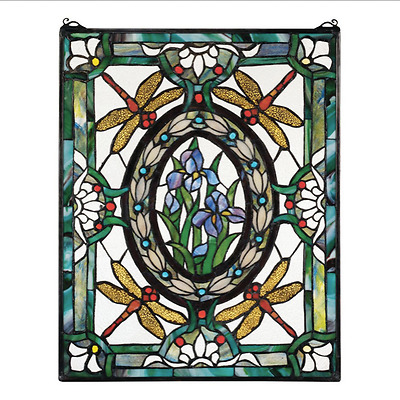 """25"""" Victorian Style Dragonfly Cabochons Hand Crafted Stained Glass Window Panel"""