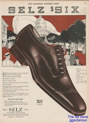 1923 SELZ Six Mens SHOES Fashion Style Footwear Capitol Washington DC Vintage Ad